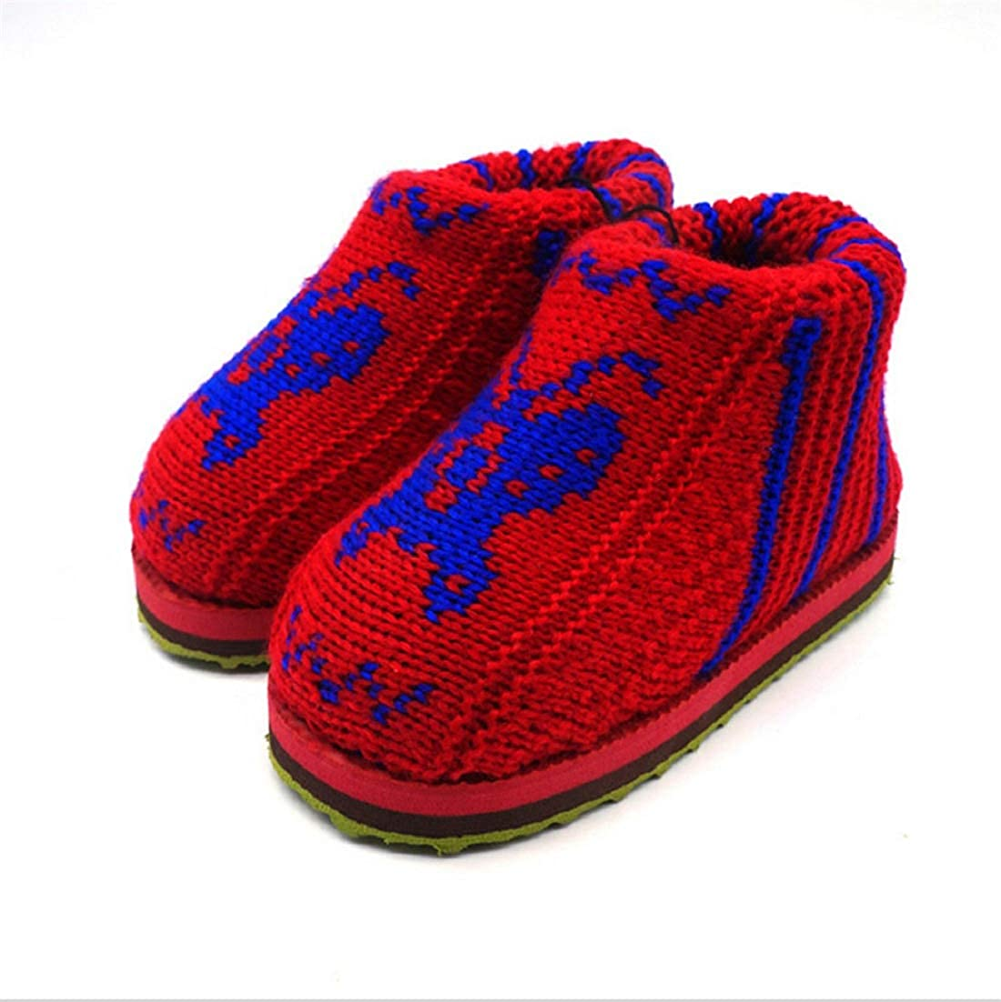 11//11.5//12-US, red Autumn and Winter New Handmade Woolen Cotton Shoes Baby Girls Boys Warm Winter Anti-Skid Slip-on Indoor Warm Cotton Shoes Random Pattern