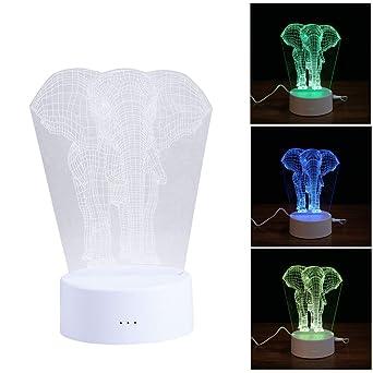 En D'éléphantLumière Tactile 3d Chevet Ledmomo Lampe De Forme J1cT3FlK