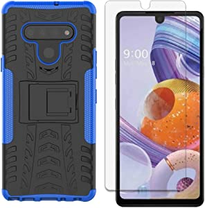 LG Stylo 6 Case with Screen Protector, Yiakeng Shockproof Silicone Protective with Kickstand Hard Phone Cover for LG Stylo 6 (Blue)