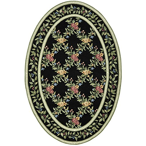 (Safavieh Chelsea Collection HK60B Hand-Hooked Black Premium Wool Oval Area Rug (4'6