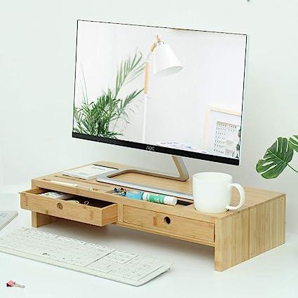 Bambú Soporte de Monitor/Robusto Organizador de Escritorio y cajón ...
