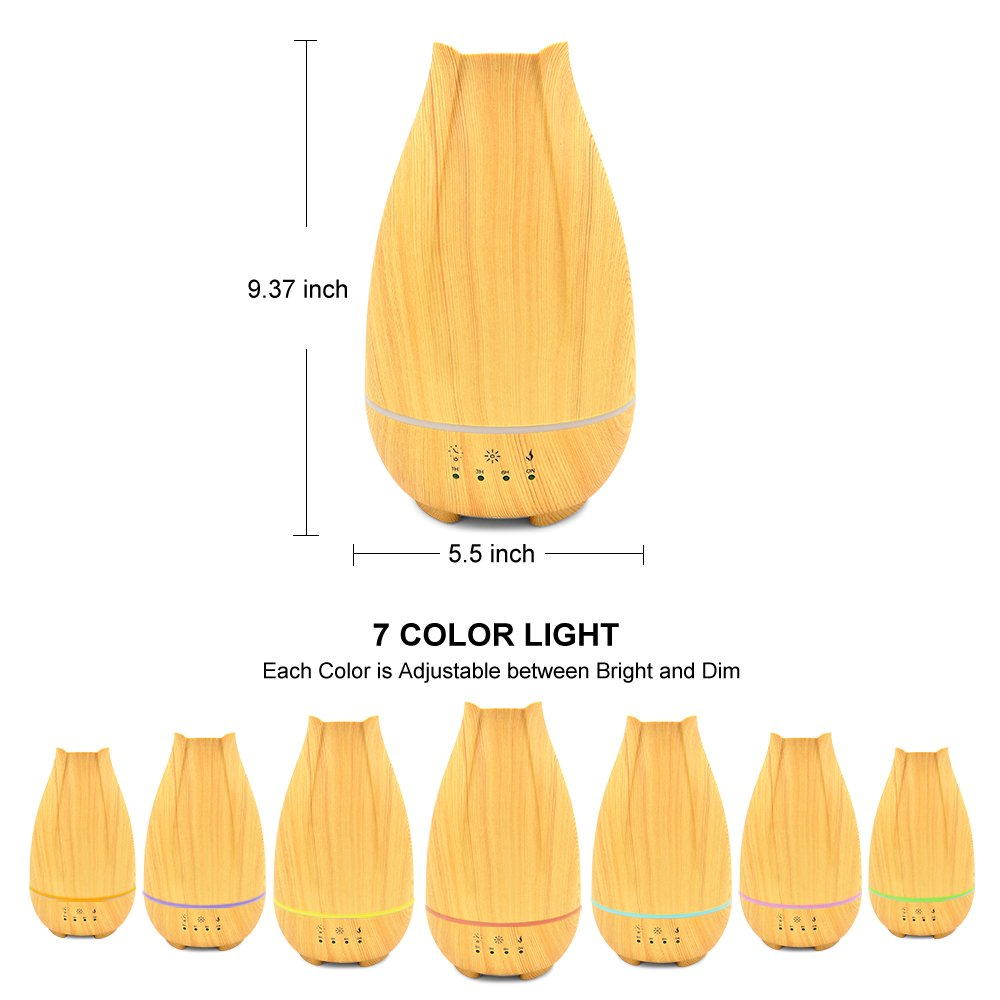500ml Cool Mist Humidifier,Wood Grain Ultrasonic Aromatherapy Diffuser with Timer,Touch Button Control,Waterless Auto Shut-Off,7 Color LED Lights by Sweet sex (Image #7)