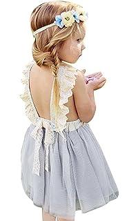 25842aa5a Amazon.com  KONIGHT Baby Girls Embroidered Ruffle Sleeveless ...