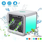 KIBER Portable Air Conditioner Fan 4 in 1 Mini USB Personal Space Air Cooler, Humidifier, Purifier Desktop Cooling Fan with 3 Speeds, 7 Colors LED Night Light for Office Home Outdoor Travel