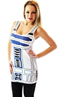 Star Wars R2-D2 Robot Juniors White Costume Tank Top Shirt