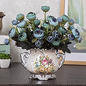 Situmi Artificial Fake Flowers The Upscale Silk Flower Decoration Blue Camellia Home Accessories 8