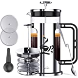 BASA French Press Coffee Maker, 34oz Coffee and Tea Makers with 4 Level Filtration System,2 Extra Filters,2 Spoons, BPA Free/FDA Approved,304-Grade Stainless Steel, Heat Resistant Borosilicate Glass