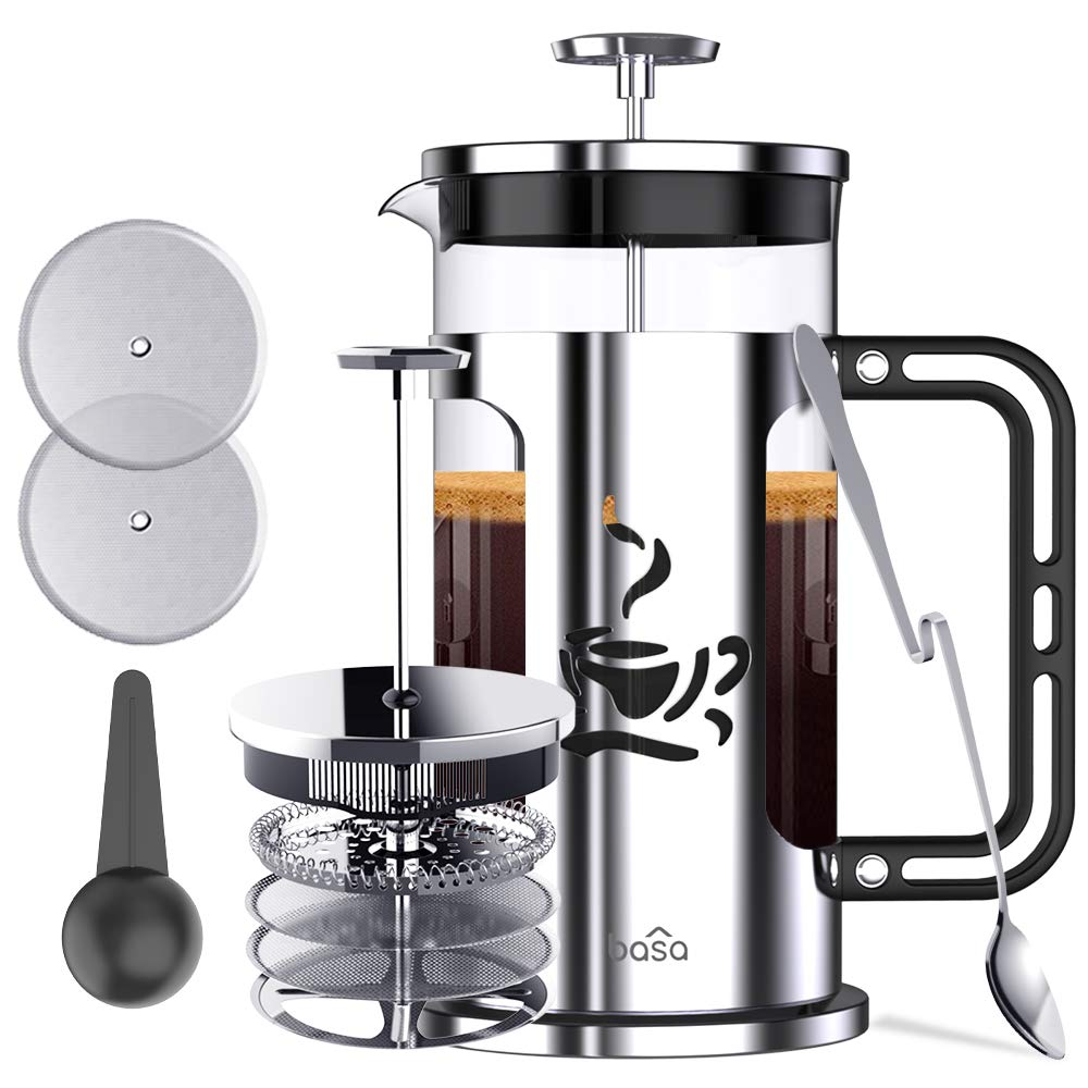 French Press Coffee Maker,BASA 34oz Coffee and Tea Makers with 4 Level Filtration System,4 Extra Filters,2 Spoons, BPA Free/FDA Approved,304-Grade Stainless Steel,Heat Resistant Borosilicate Glass