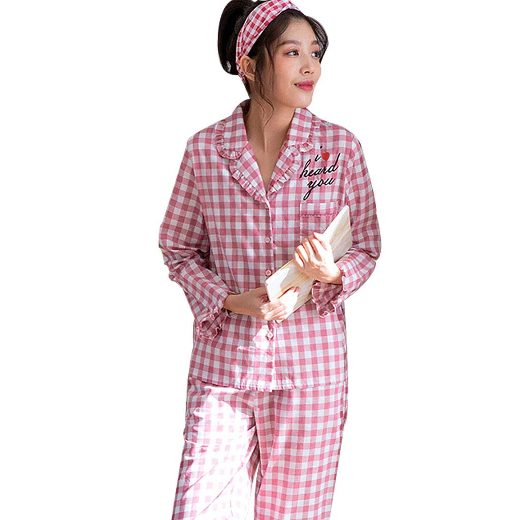 British Plaid Nightgowns Pajama Females' Cotton Pajamas Soft and SkinFriendly British Plaid LongSleeved Sleepwear for Spring and Autumn Ladies' Wonderful Gifts Sleepshirts (color   British Plaid, Size   L)