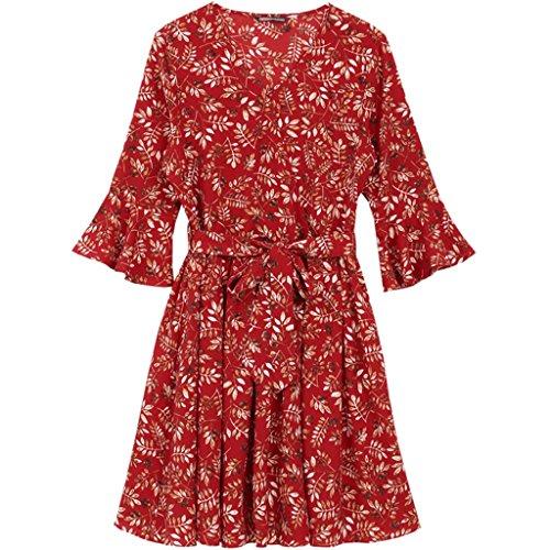 YaNanHome Robe d't Nouvelle Robe de Style Robe en Mousseline  Fleurs (Color : Red, Size : S) Red