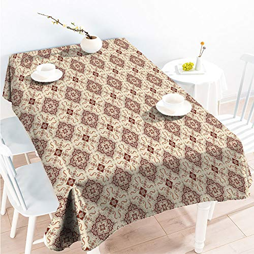 Kitchen Dinning Party Tablecloth Decorative Fabric Table Cover Oriental Inspirations in Symmetrical Floral Arrangement Vintage W 70