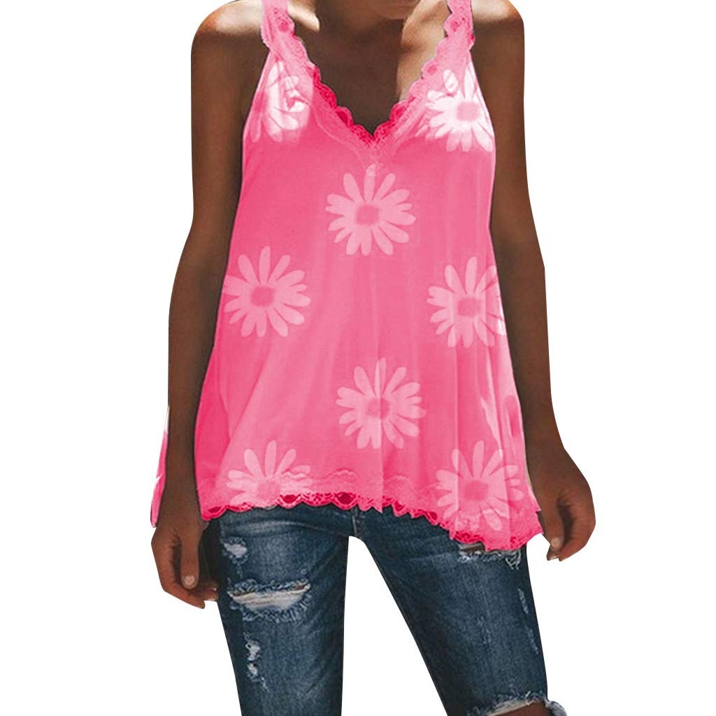 Duseedik Summer Women's Sleeveless Tops Fashion Lace Vest Blouse Print Flower V Neck Lace Top Tunic T-Shirt Hot Pink