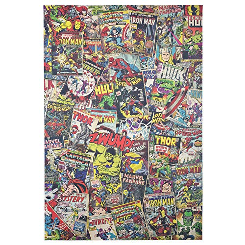 Officially Licensed Marvel Comics Avengers Comic Book Covers Collage Wrapped Canvas Wall Art (36
