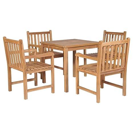 vidaXL Madera Maciza Teca Set Muebles Comedor Exterior 5 ...