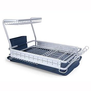 PEACEKOREA - Escurreplatos de aluminio para escurrir platos, 1 estante, 1 estante, multiusos