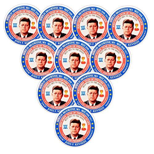 Pack-10 John F. Kennedy (Gemini Fire Snake) 35th President Pin-Back Button (3