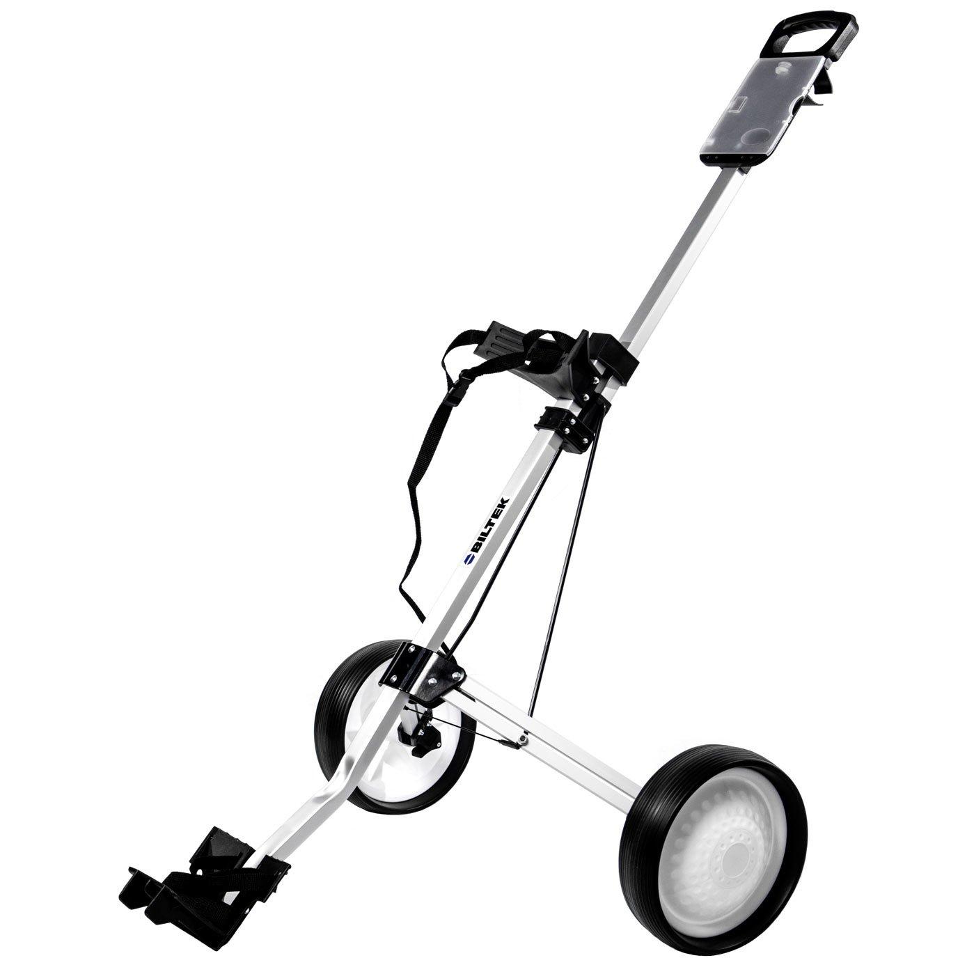 Biltek Golf Push Cart - Foldable 2-Wheeled Push Pull Golf Cart Trolley - Silver
