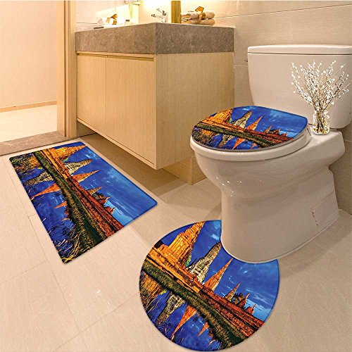 3 Piece Toilet mat set Golden Statue Asian Meditation Fountain Eastern Culture Serenity Themed Extralong Gr Textures Non-Slip Bathroom Mats Contour Toilet Cover Rug by NALAHOMEQQ