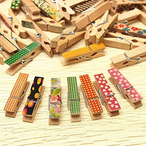 Saver 50 Pcs Cute Painted Wooden Mini Craft Pegs Cloth Photo Picture Hanging Spring Clips Clothespin by 365 Saver
