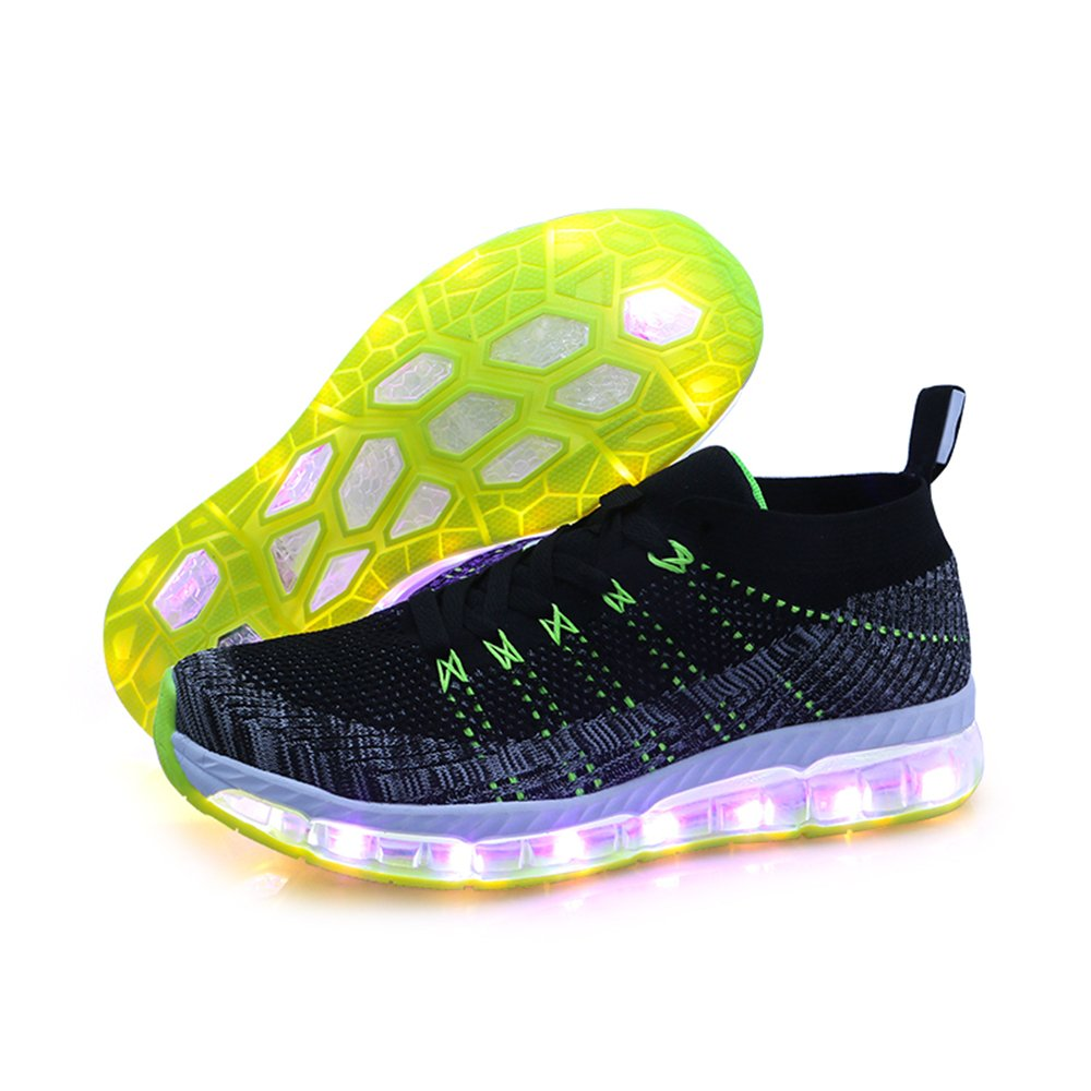 AIRAVATA Men Women Adult LED Light up Sneakers USB Charging Flashing Lightweight Breathable Fashion Walking Shoes B07CQQCRR2 Men-CN 44|Grey