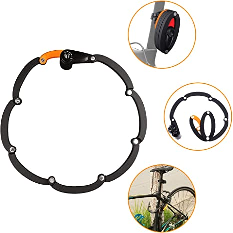 WOTOW candado plegable para bicicleta, cadena de metal plegable ...