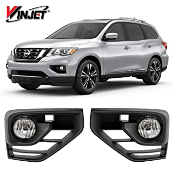 winjet wj30 0566 09 oem series for [2017 2019 nissan pathfinder] clear lens oe fitment replacement with bezels, bulbs, relay driving fog lights Dodge Ram 1500 Fog Light Wiring