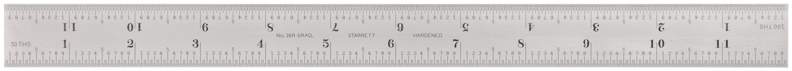 Starrett CB12-16R Combination Square Blade With Inch Graduations, Sets And Bevel Protractors, Satin Chrome Finish, 16R Graduation, 1'' Width, 3/32'' Thickness, 12'' Size