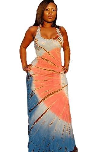 Doris Apparel Women's Boho Sleeveless Tie-Dye Maxi Dress Tank dress