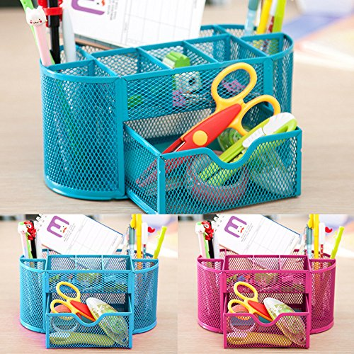 Jeash Storage Box ✿ Multi-Function Pen Pencils Mesh Holder Stationery Container Desk Tidy Organizer for Home School Office Decor (Blue) by Jeash (Image #2)
