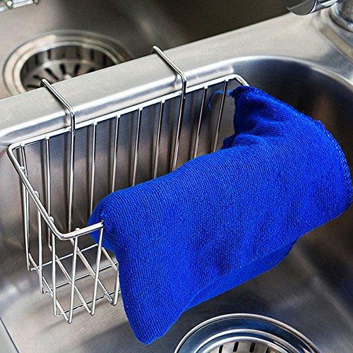 Kitchen Sink Caddy Sponge Holder, Slim Sink Organization Basket for Kitchen Accessories, Sponges, Dish Brushes- Stainless Steel (1PK)