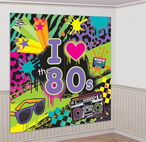 Amscan Awesome 80's Party Wall Scene Setter Decorating Kit (2 Piece), Multi Color, 14.5 x 10
