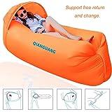 QG® Divano/letto/materassino gonfiabile portatile, 0,9 kg, design originale per attività all'aria aperta, escursionismo, campeggio, spiaggia e giardino, con parasole - Orange