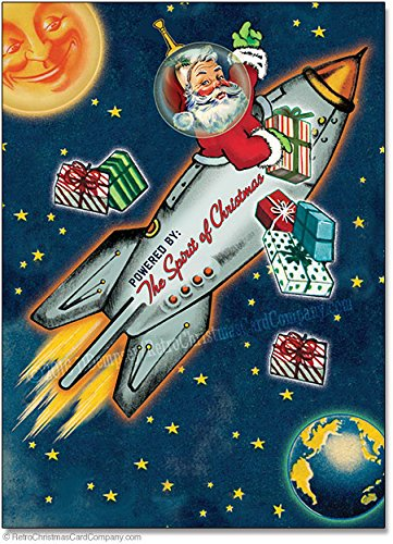 space age santa christmas cards package of 8