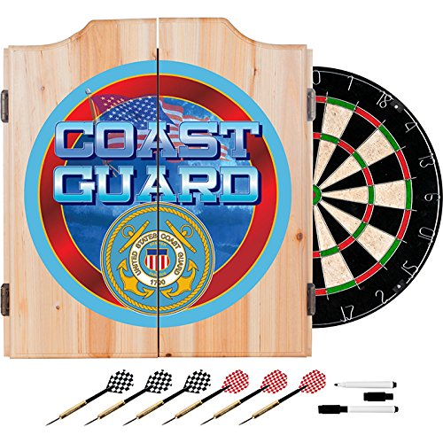 US Coast Guard Design Deluxe Solid Wood Cabinet Complete Dart Set by TMG
