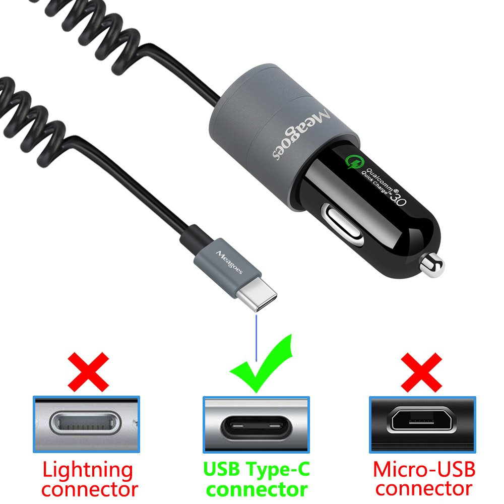 LG V40//G7 ThinQ//V30 with Built-in Coiled USB C Cord 4351502160 Meagoes Dual Quick Charge 3.0 Type C Car Charger Adapter Compatible Samsung Note 9//8 Moto Z3//Z2 Play//Z Droid Galaxy S10 Plus//S10//S9//S9+//S8 Plus