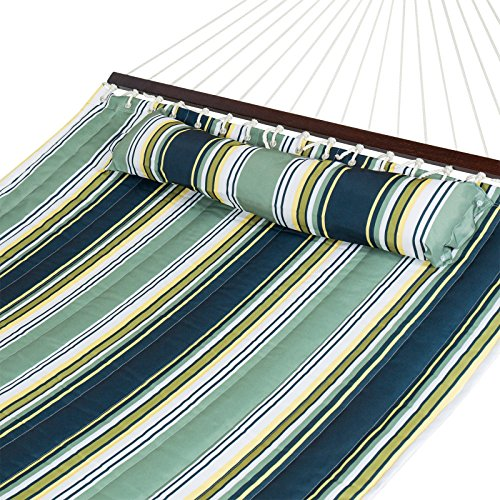Trendy Hammock Quilted Fabric With Pillow Double Size Spreader Bar Heavy Duty Stylish Relaxing To The Rhythm Of A Swaying Hammock In Your Own Backyard - Circle St Armand
