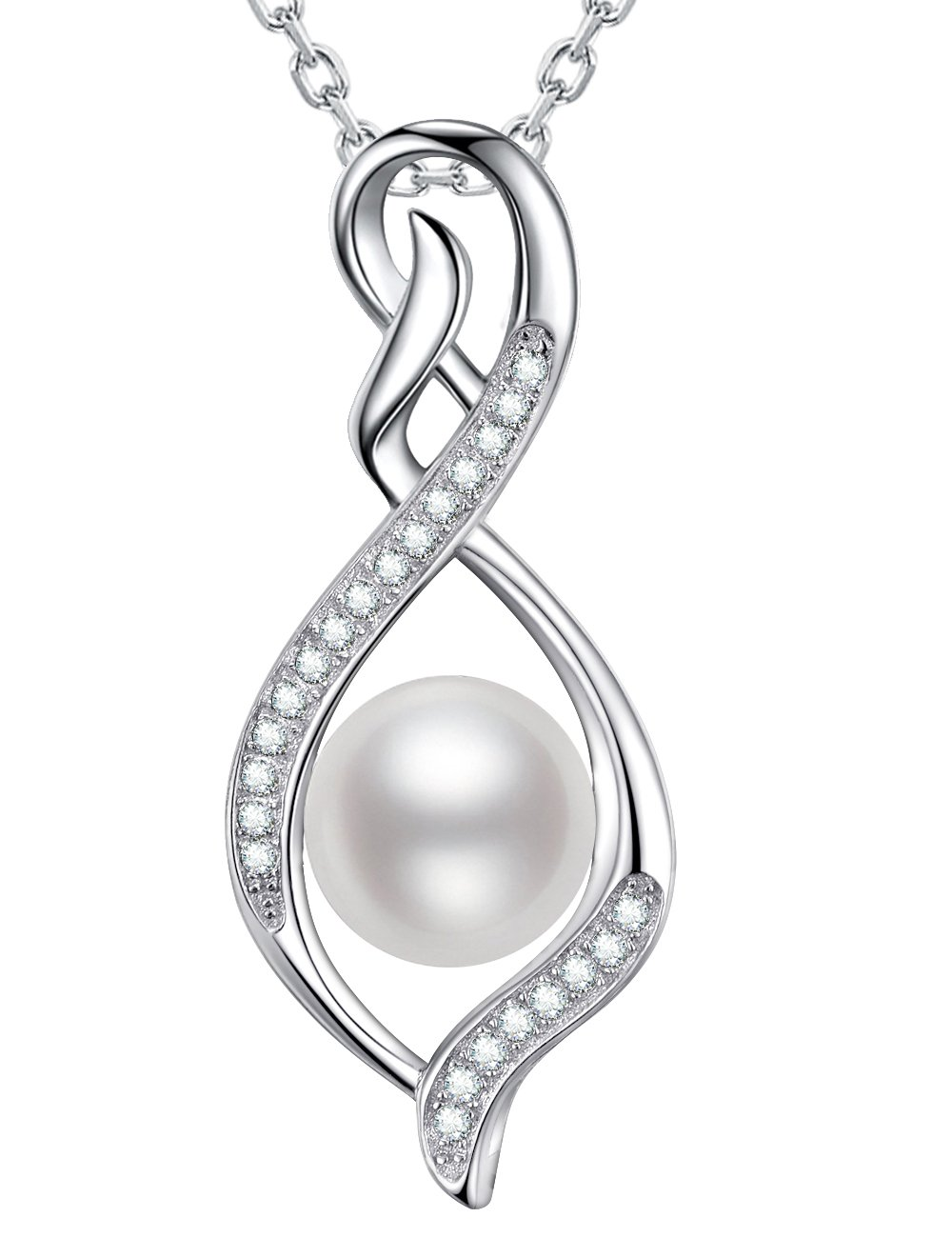 Pearl Necklace Infinity Pendant June Birthstone Sterling Silver Jewelry Birthday Gifts for Her for Wife Anniversary Gift for women