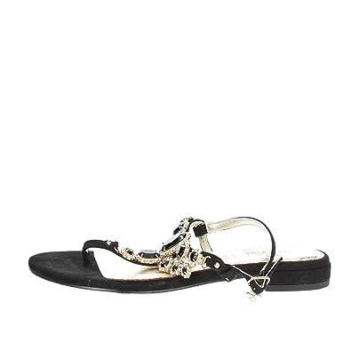 Braccialini B2006 Tongs Femme Noir Noir - Chaussures Tongs Femme