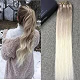 """Full Shine 16"""" 140Gram 10Pcs Per Set Clip in Ombre Hair Extensions Color 18 Fading to Color 60 Platinum Blonde Balayage Dip Dyed Remy Hair Extensions Full Head Clip in Hair Extensions"""