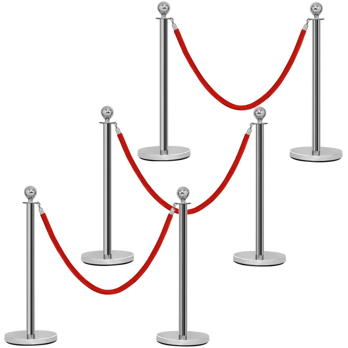 Goplus 6Pcs Stanchion Set Round Top Polished Stainless Crowd Control Barrier Posts Queue Pole w/ Retractable Velvet Ropes