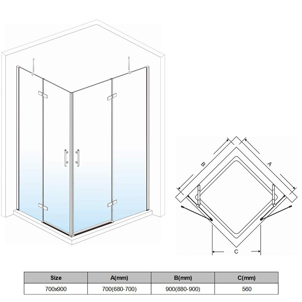 760 x 700 mm Corner Entry Shower Enclosure Pivot Door Shower Cubicle