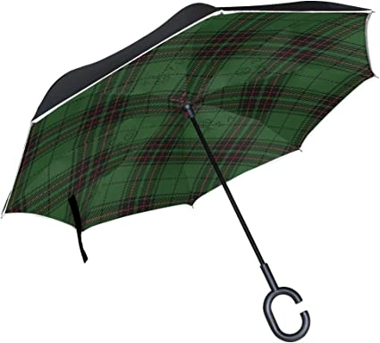 Xmas Tree Double Layer Inverted Umbrella Self Stand Upside-Down Rain Protection Car Reverse Umbrellas