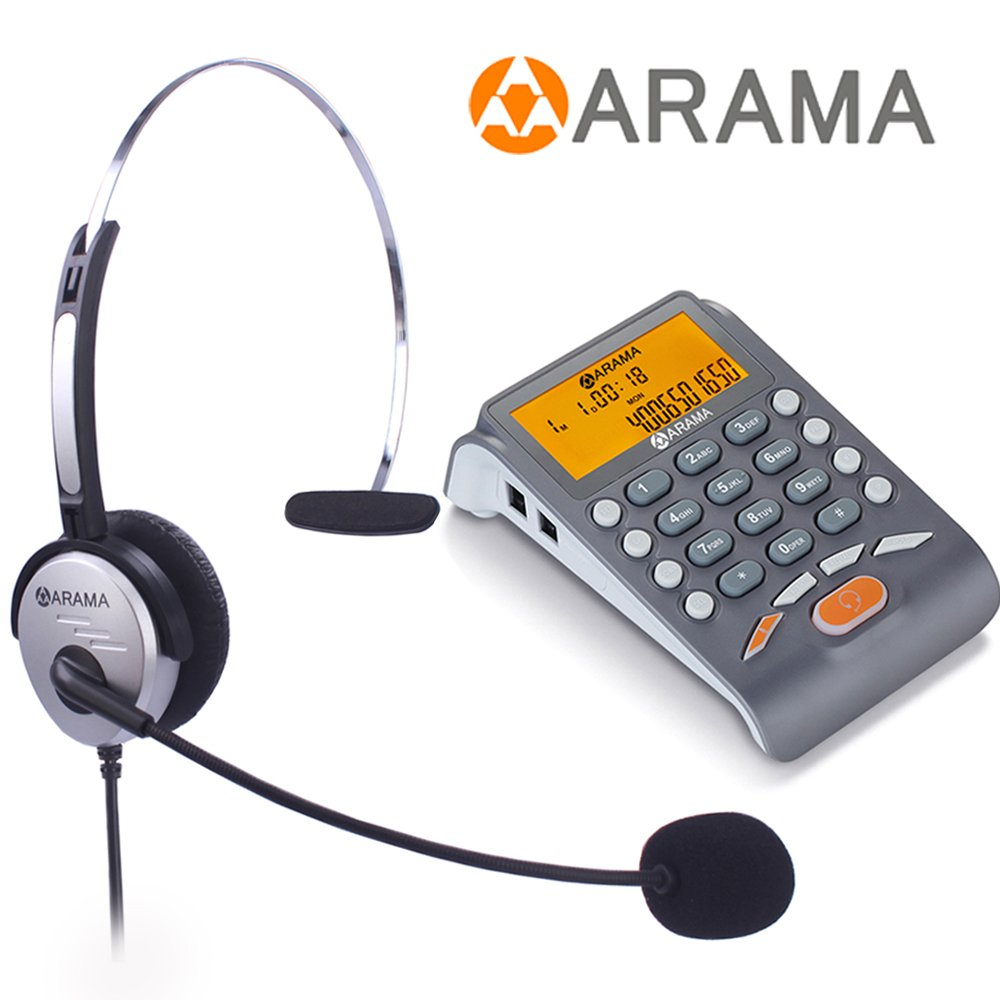 Arama Corded Telephone with Headset, Landline Telephone Headset with Noise Cancellation Headset for Office Business and House Call Center Office
