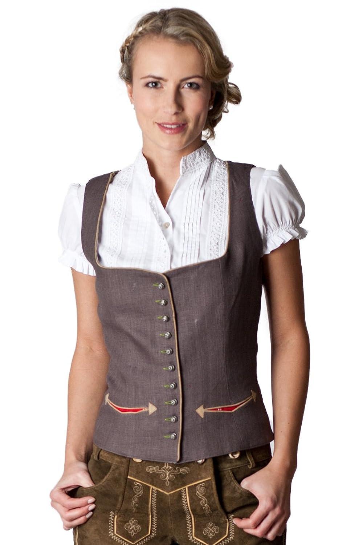 Ludwig und Therese Damen Trachten Mieder Alena grau D090024