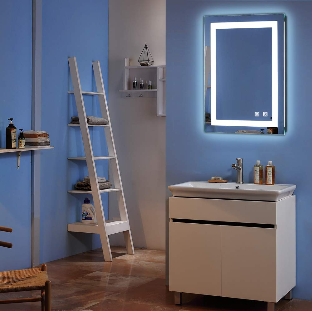 32'' x 24'' Wall Mounted Dimmable Led Bathroom Mirror Led Backlit Lighted Frameless Bathroom Vanity Mirror with Touch Button and Anti-Fog (32'' x 24'') by Bonnlo