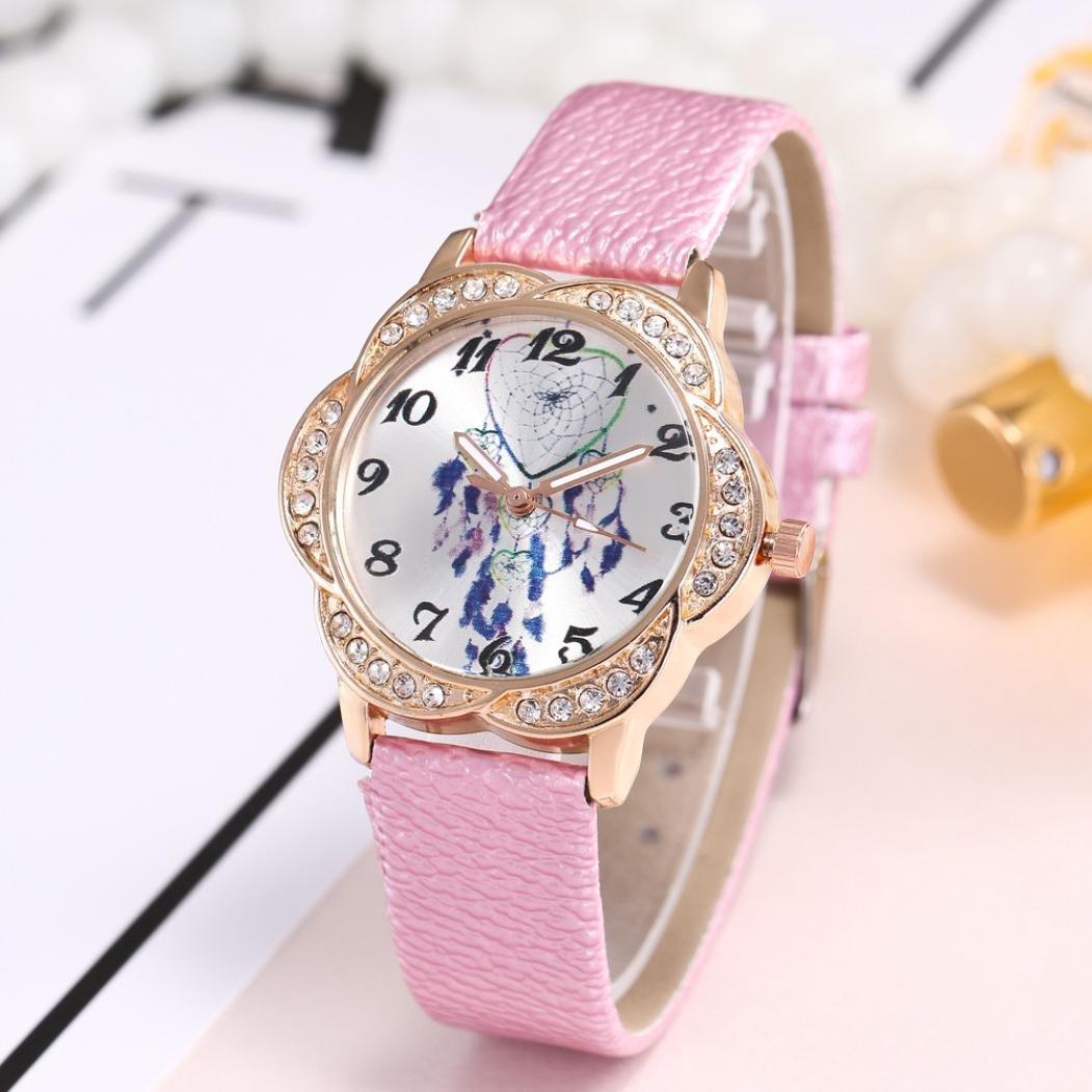 LtrottedJ Women Fashion Leather Band Analog Quartz Round Wrist Watch,Watches (pink)