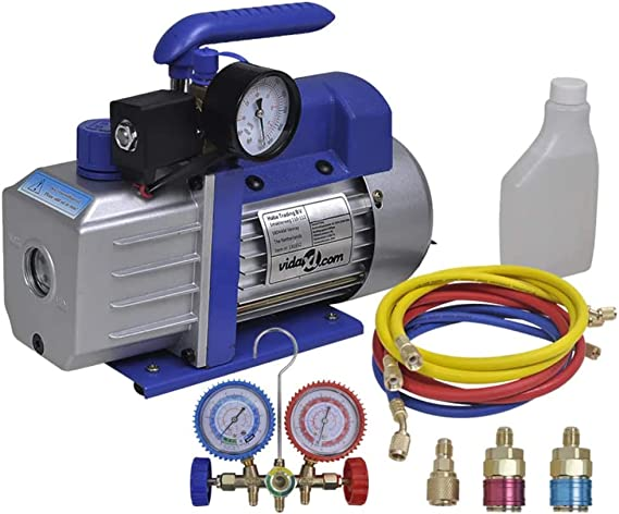 Vidaxl Vakuumpumpe Einstufig Mit 2 Wege Verteiler Manometer Set Unterdruckpumpe Vacuum Vacuumpumpe Kompressor Pumpe Klimaanlagen Monteurhilfe Baumarkt