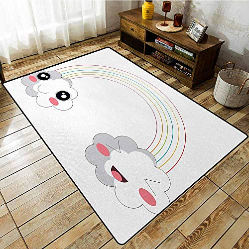 Collection Area Rug,Anime,Two Clouds and a Rainbow Happy Face Expressions Japanese Design for Kids Nursery,Large Area mat,4'11