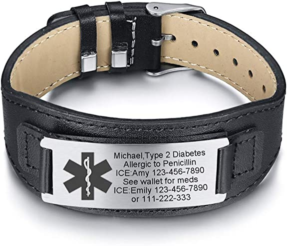 MPRAINBOW Custom Personalized Medical Alert ID Wide Genuine Leather