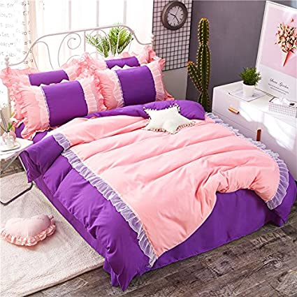 KFZ Bed Set Girls Magic Princess [4pcs HT Twin Full Queen Size Bedding- Lace Lacy Duvet Cover, Flat Sheet, 2 Pillow Cases.No Comforter] Plain Solid Color Pink Designs (Pink Blue, Twin 59x79) Twin 59x79)